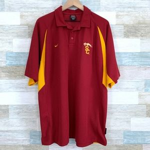 USC Trojans Tech Polo Shirt Red Gold Nike
